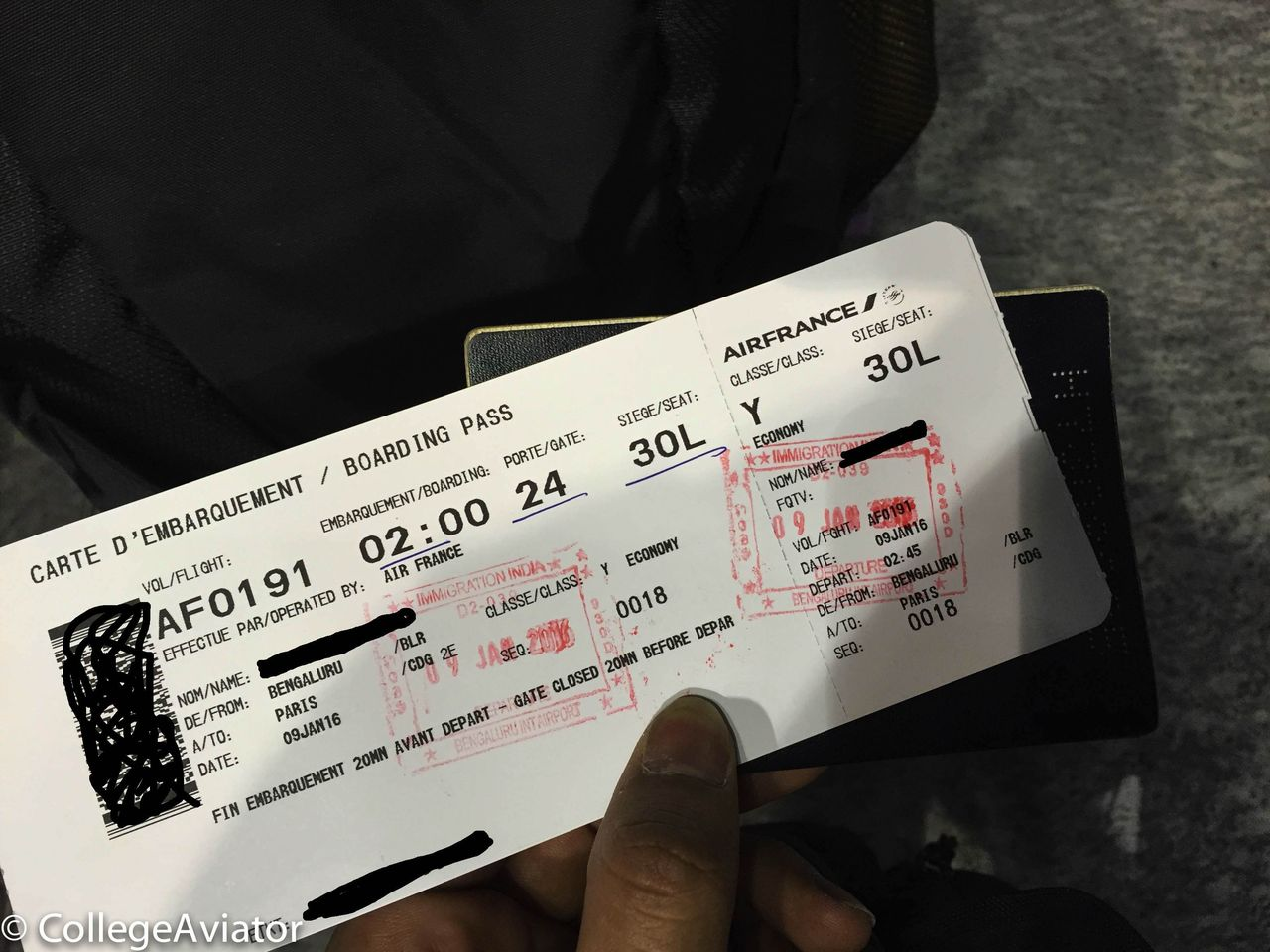 Review Of Air France Flight From Bangalore To Paris In Economy
